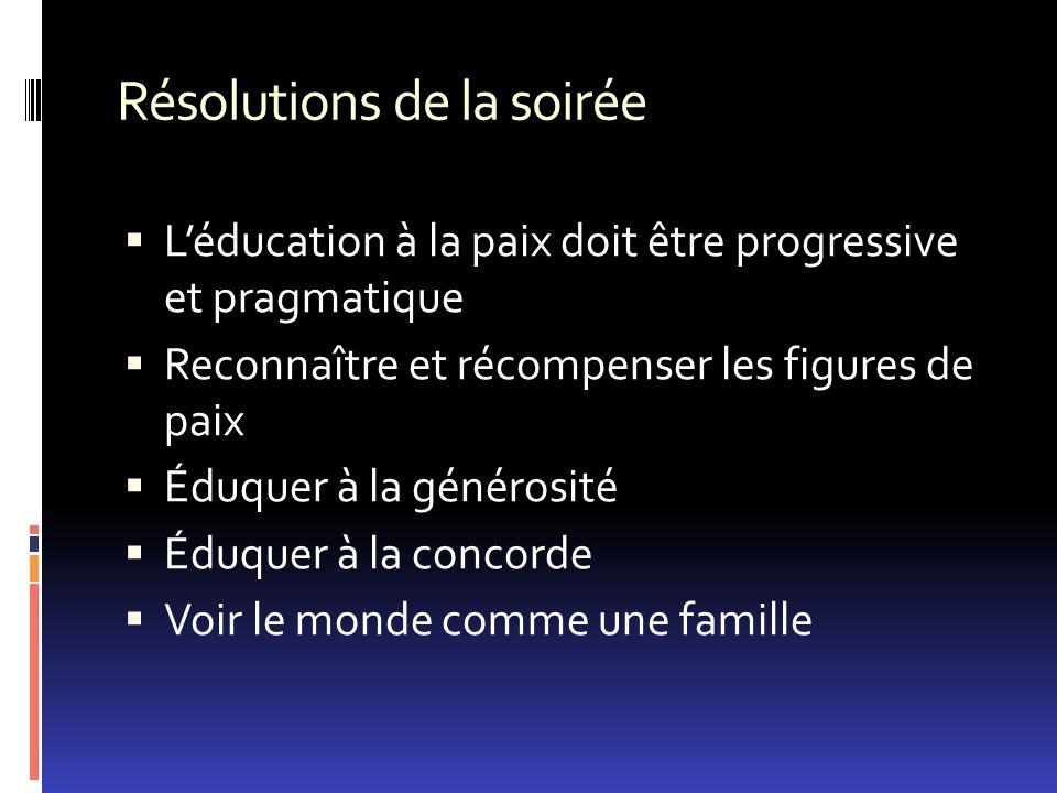 Résolutions de la soirée Léducation à la paix doit être progressive et pragmatique Reconnaître et récompenser les figures de paix Éduquer à la généros