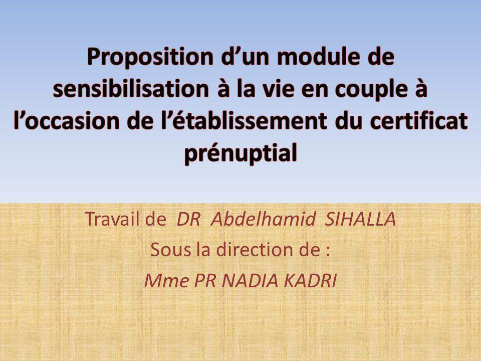 Travail de DR Abdelhamid SIHALLA Sous la direction de : Mme PR NADIA KADRI