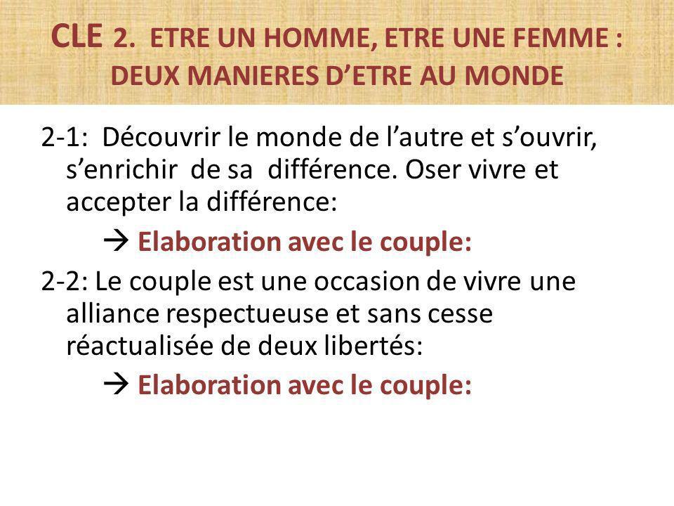 CLE 2. ETRE UN HOMME, ETRE UNE FEMME : DEUX MANIERES DETRE AU MONDE 2-1: Découvrir le monde de lautre et souvrir, senrichir de sa différence. Oser viv