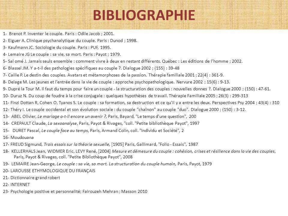 BIBLIOGRAPHIE 1- Brenot P. Inventer le couple. Paris : Odile Jacob ; 2001. 2- Eiguer A. Clinique psychanalytique du couple. Paris : Dunod ; 1998. 3- K