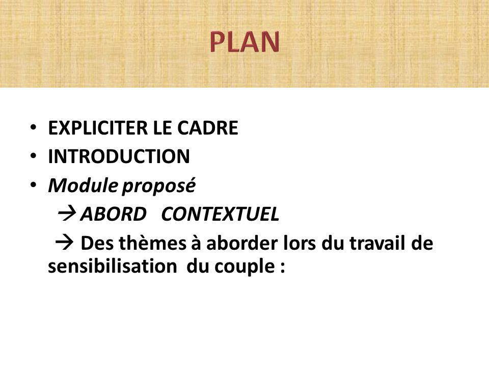 EXPLICITER LE CADRE INTRODUCTION Module proposé ABORD CONTEXTUEL Des thèmes à aborder lors du travail de sensibilisation du couple :