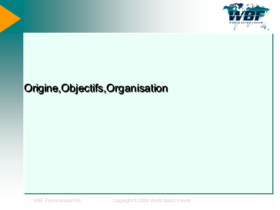WBF Flot Analysis WGCopyright © 2000 World Batch Forum Origine,Objectifs,Organisation