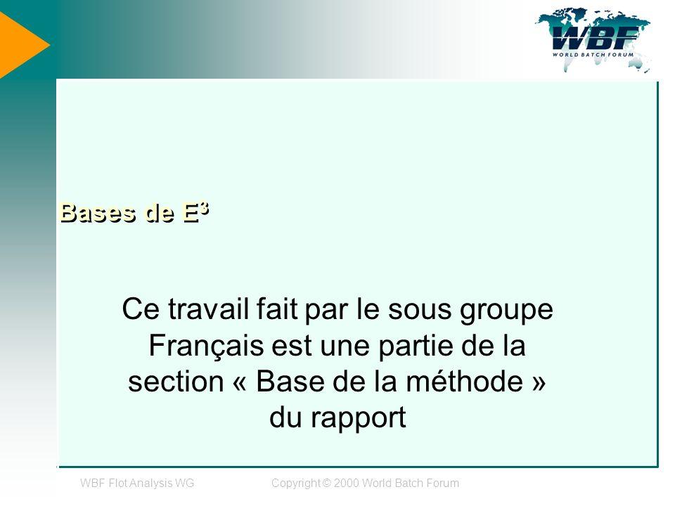 WBF Flot Analysis WGCopyright © 2000 World Batch Forum Bases de E 3 Ce travail fait par le sous groupe Français est une partie de la section « Base de la méthode » du rapport