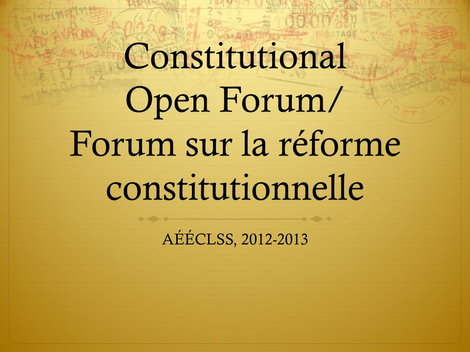VP Academic/Internal Old Constitution: Prevailing norms established the following responsibilities: clubs, committees, French and English program concerns, administrative meetings, academic committee, academic event planning, working knowledge of French.