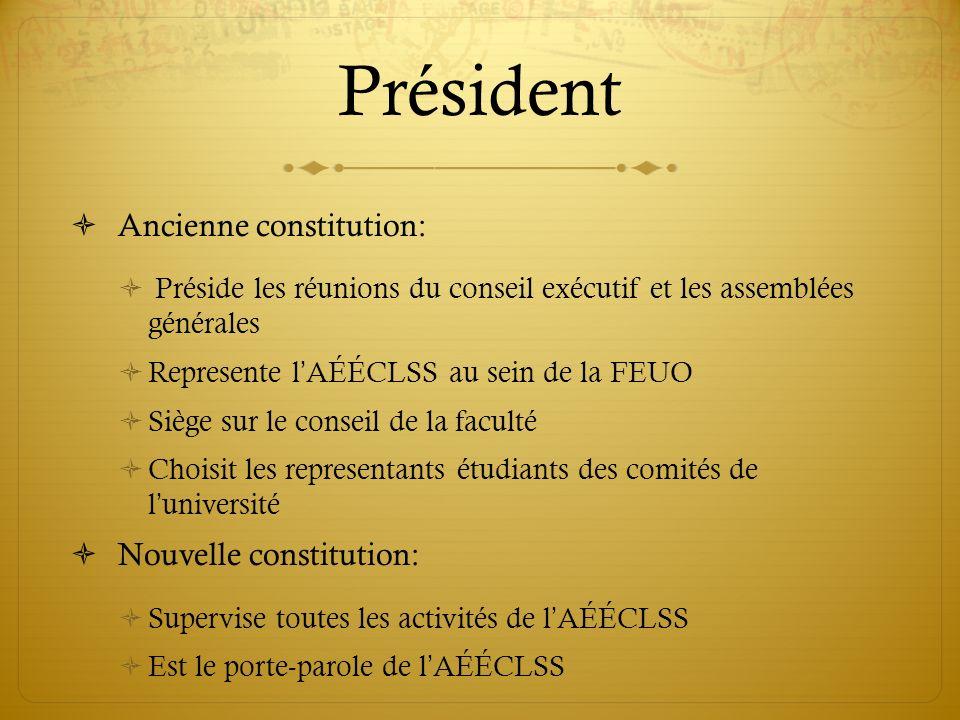 Président Ancienne constitution: Préside les réunions du conseil exécutif et les assemblées générales Represente lAÉÉCLSS au sein de la FEUO Siège sur