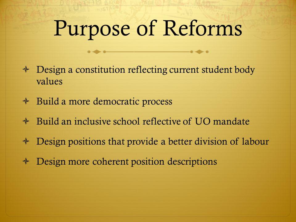 But des réformes Créer une constitution qui incorpore les valeurs de la population étudiantes Créer un processus plus démocratique Créer une faculté inclusive qui reflète le mandate de luniversité.