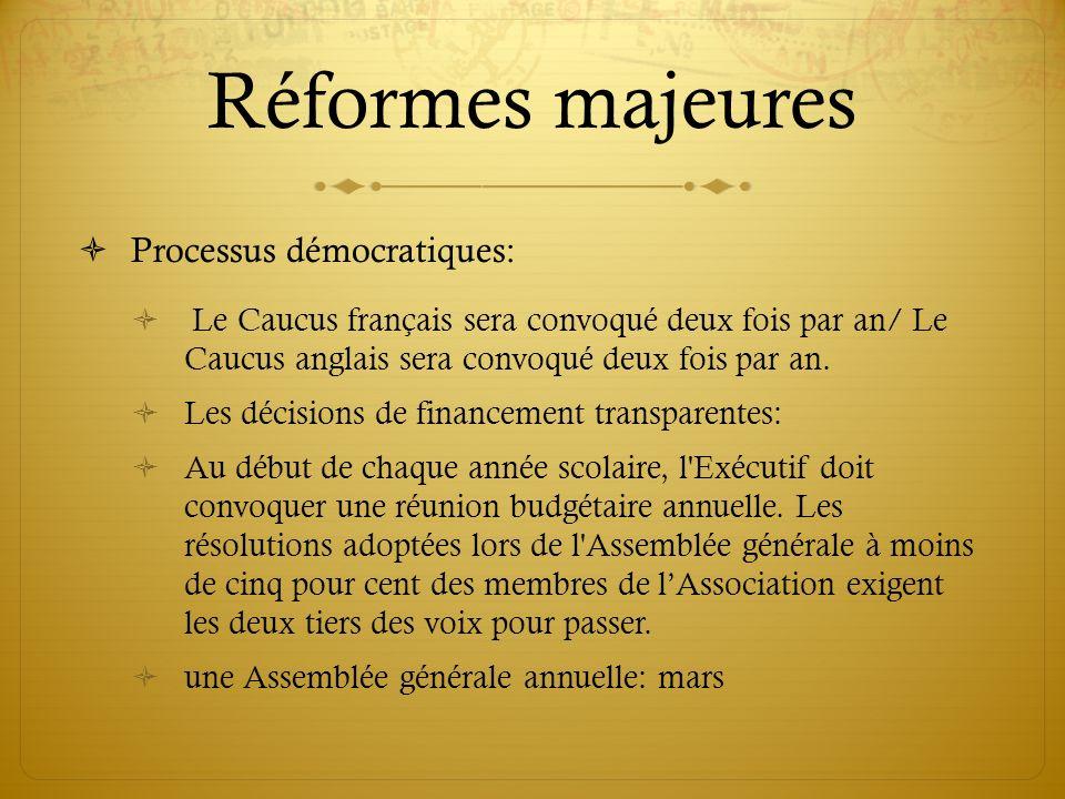 Réformes majeures Processus démocratiques: Le Caucus français sera convoqué deux fois par an/ Le Caucus anglais sera convoqué deux fois par an. Les dé