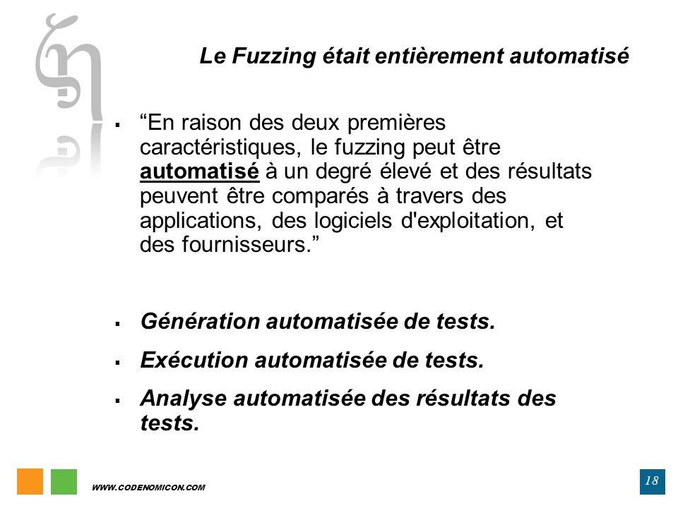 WWW.CODENOMICON.COM 18 Le Fuzzing était entièrement automatisé En raison des deux premières caractéristiques, le fuzzing peut être automatisé à un deg