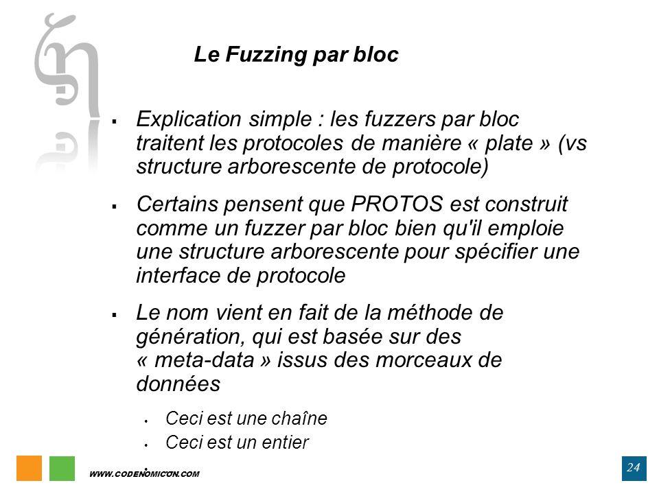 WWW.CODENOMICON.COM 24 Le Fuzzing par bloc Explication simple : les fuzzers par bloc traitent les protocoles de manière « plate » (vs structure arbore