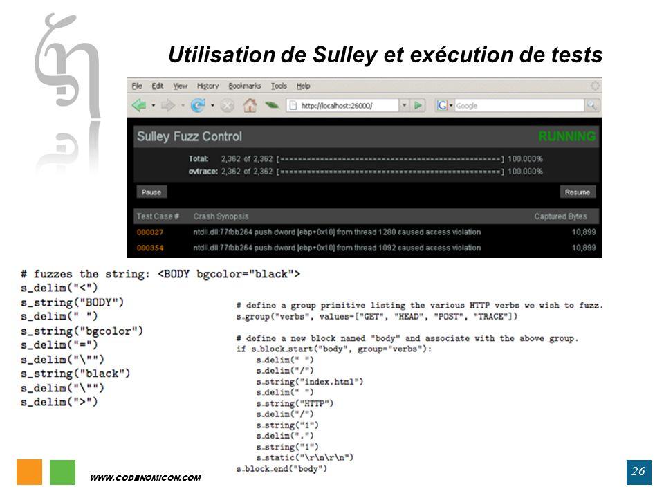 WWW.CODENOMICON.COM 26 Utilisation de Sulley et exécution de tests