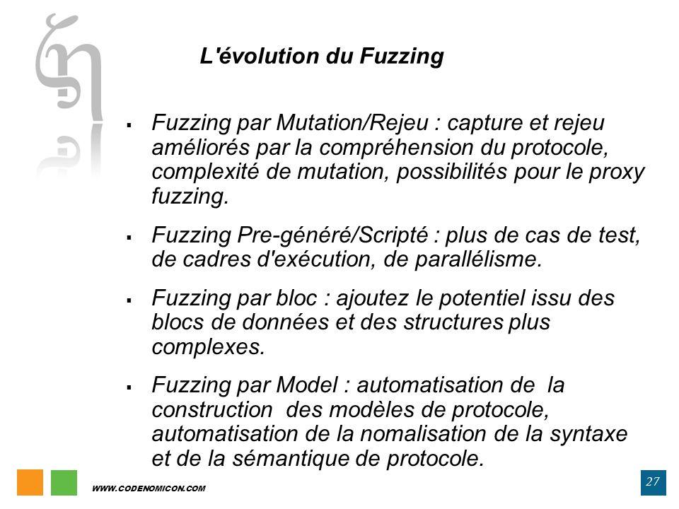 27 WWW.CODENOMICON.COM Fuzzing par Mutation/Rejeu : capture et rejeu améliorés par la compréhension du protocole, complexité de mutation, possibilités
