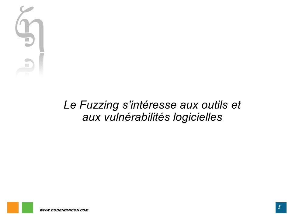 WWW.CODENOMICON.COM 5 Le Fuzzing sintéresse aux outils et aux vulnérabilités logicielles