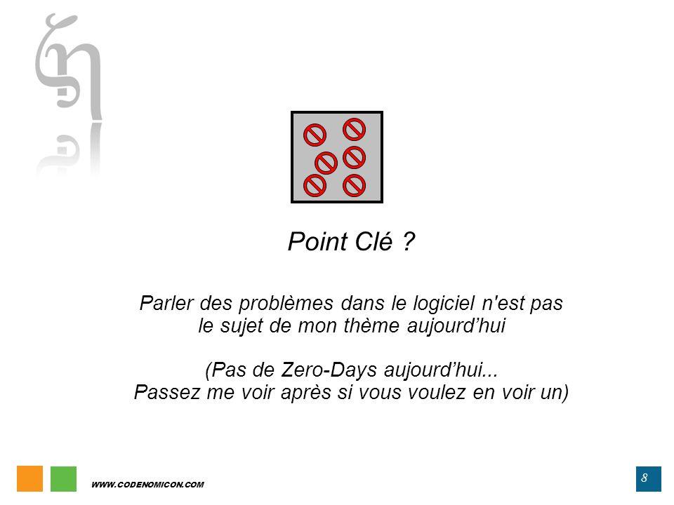 WWW.CODENOMICON.COM 8 Point Clé ? Parler des problèmes dans le logiciel n'est pas le sujet de mon thème aujourdhui (Pas de Zero-Days aujourdhui... Pas