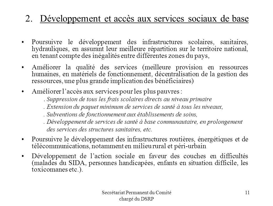 Secrétariat Permanent du Comité chargé du DSRP 11 2. Développement et accès aux services sociaux de base Poursuivre le développement des infrastructur