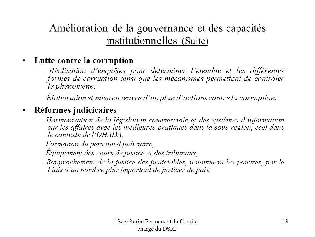 Secrétariat Permanent du Comité chargé du DSRP 13 Amélioration de la gouvernance et des capacités institutionnelles (Suite) Lutte contre la corruption