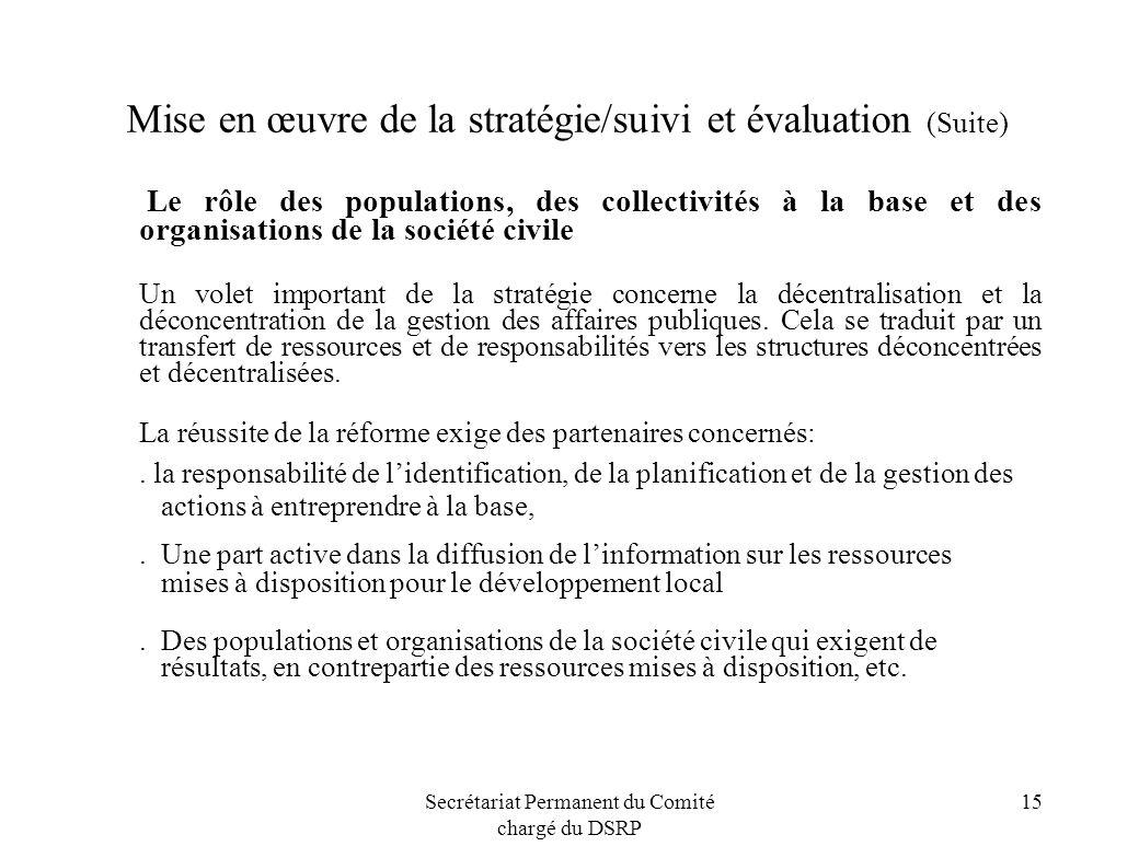 Secrétariat Permanent du Comité chargé du DSRP 15 Mise en œuvre de la stratégie/suivi et évaluation (Suite) Le rôle des populations, des collectivités
