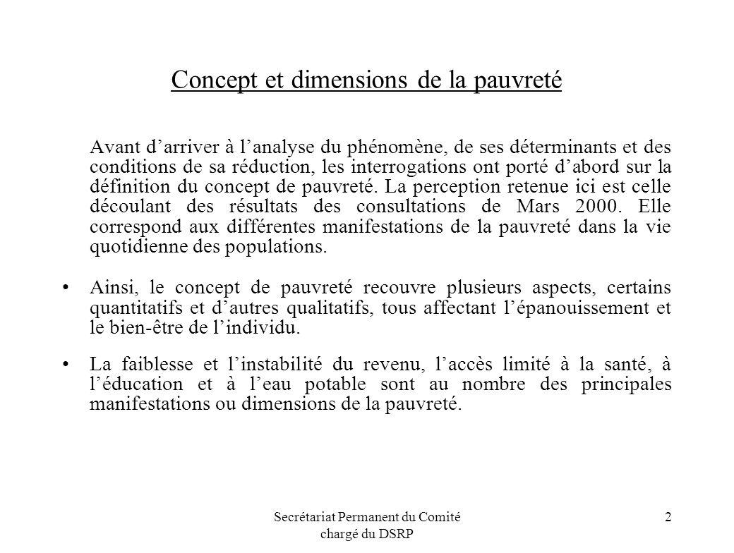 Secrétariat Permanent du Comité chargé du DSRP 2 Concept et dimensions de la pauvreté Avant darriver à lanalyse du phénomène, de ses déterminants et d