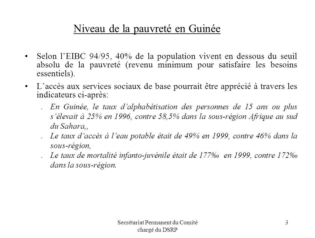 Secrétariat Permanent du Comité chargé du DSRP 3 Niveau de la pauvreté en Guinée Selon lEIBC 94/95, 40% de la population vivent en dessous du seuil ab