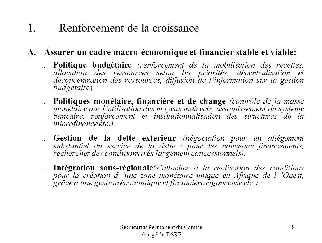 Secrétariat Permanent du Comité chargé du DSRP 8 1.Renforcement de la croissance A. Assurer un cadre macro-économique et financier stable et viable:.P