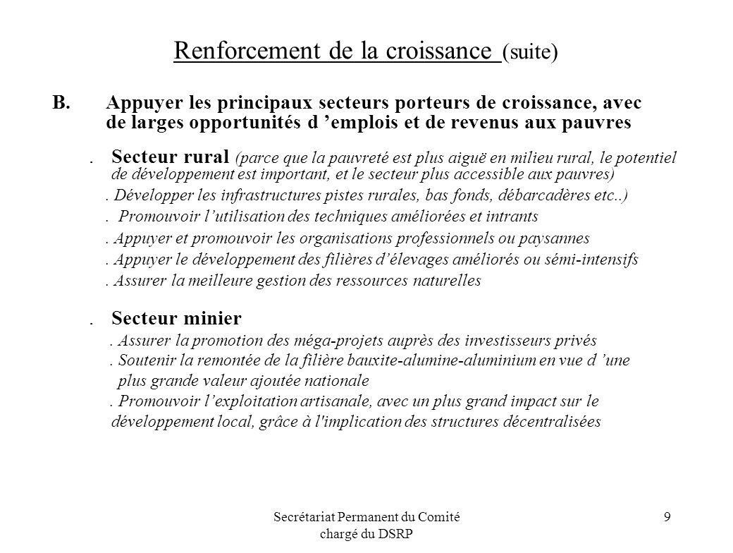 Secrétariat Permanent du Comité chargé du DSRP 10 Renforcement de la croissance (suite).PME/PMI : promouvoir le développement des PME/PMI et la création demplois: formation professionnel et sur lentrepreunariat,),.Réformes du secteur des entreprises publiques.