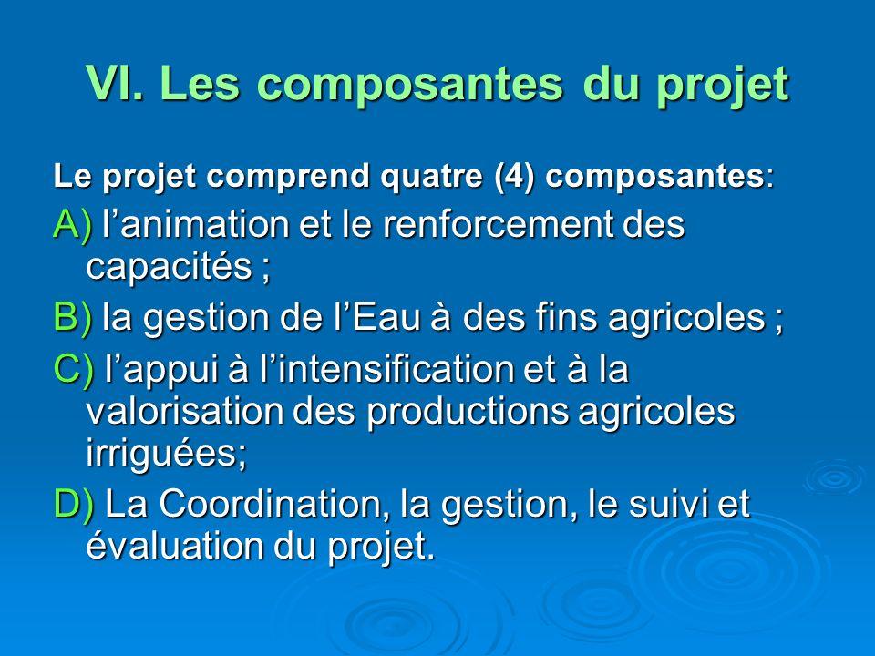 VI. Les composantes du projet Le projet comprend quatre (4) composantes: A) lanimation et le renforcement des capacités ; B) la gestion de lEau à des