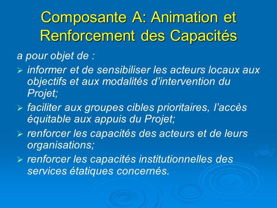 Composante A: Animation et Renforcement des Capacités a pour objet de : informer et de sensibiliser les acteurs locaux aux objectifs et aux modalités