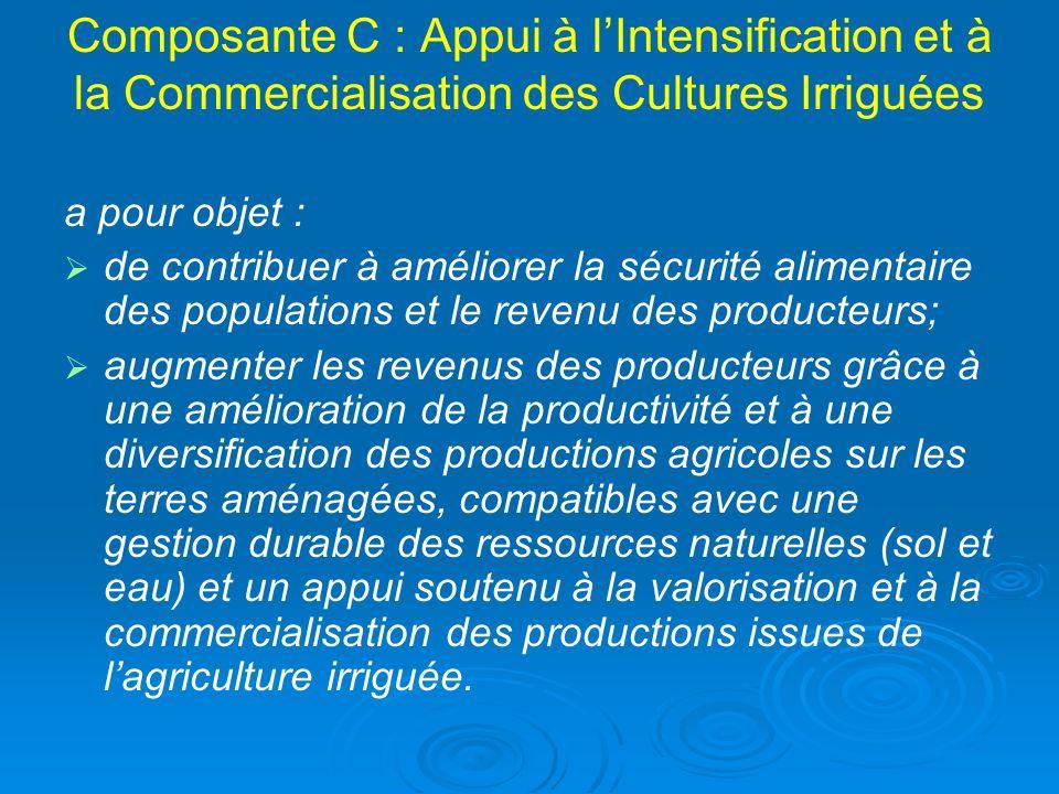 Composante C : Appui à lIntensification et à la Commercialisation des Cultures Irriguées a pour objet : de contribuer à améliorer la sécurité alimenta