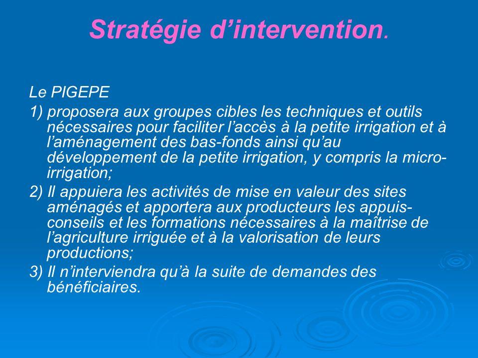 Stratégie dintervention. Le PIGEPE 1) proposera aux groupes cibles les techniques et outils nécessaires pour faciliter laccès à la petite irrigation e