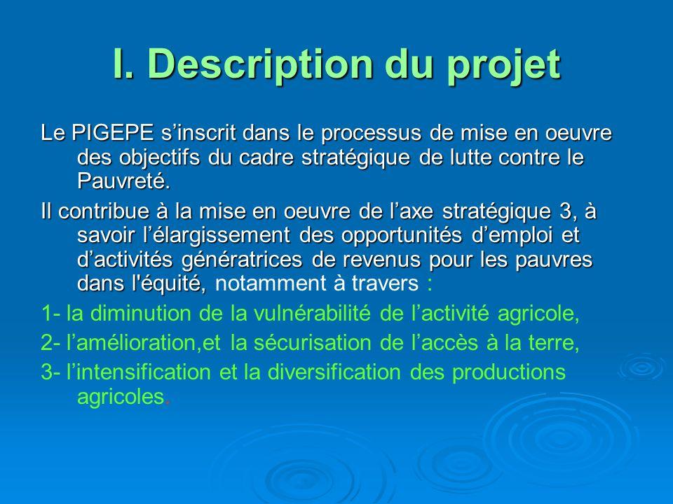 I. Description du projet Le PIGEPE sinscrit dans le processus de mise en oeuvre des objectifs du cadre stratégique de lutte contre le Pauvreté. Il con