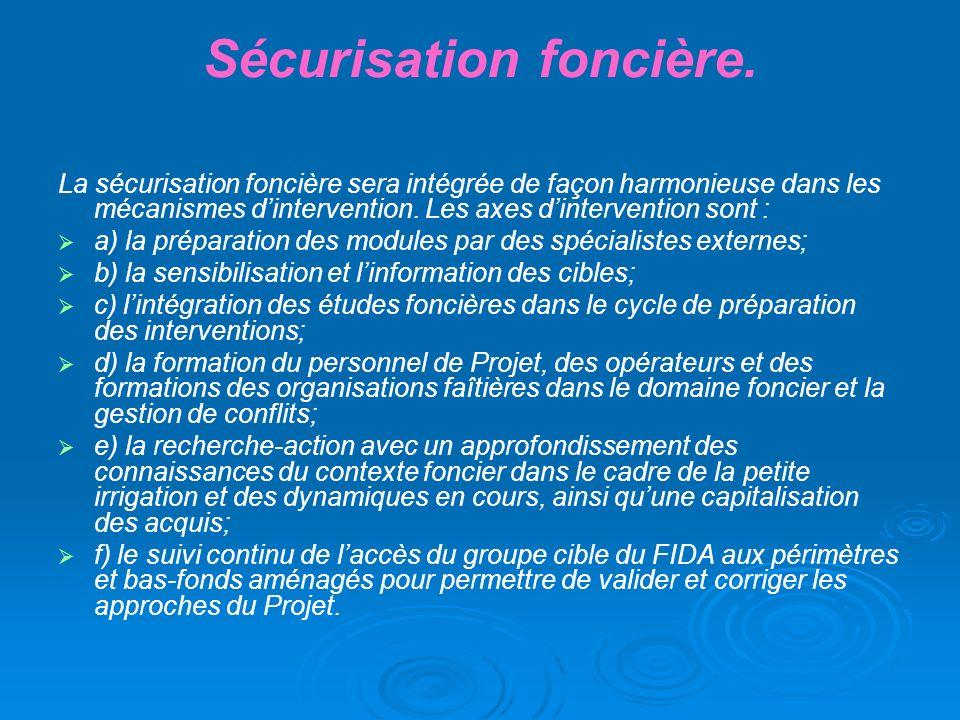 Sécurisation foncière. La sécurisation foncière sera intégrée de façon harmonieuse dans les mécanismes dintervention. Les axes dintervention sont : a)