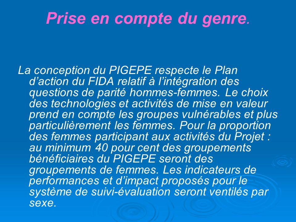 Prise en compte du genre. La conception du PIGEPE respecte le Plan daction du FIDA relatif à lintégration des questions de parité hommes-femmes. Le ch