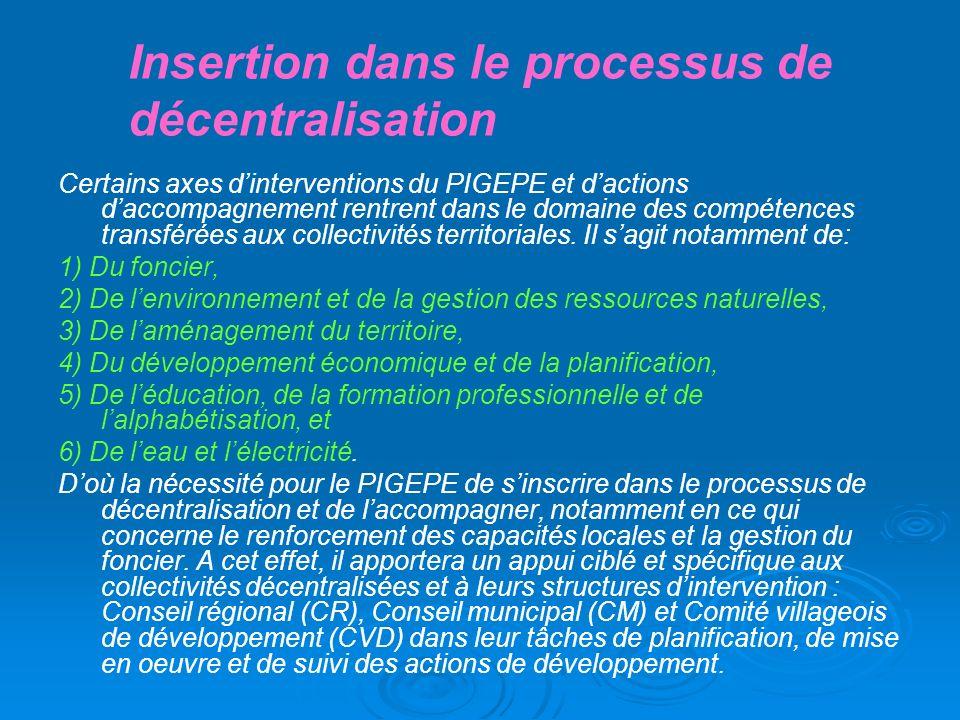 Insertion dans le processus de décentralisation Certains axes dinterventions du PIGEPE et dactions daccompagnement rentrent dans le domaine des compét