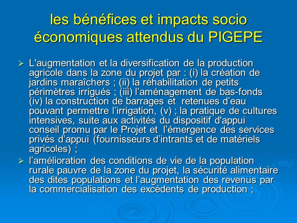 les bénéfices et impacts socio économiques attendus du PIGEPE L'augmentation et la diversification de la production agricole dans la zone du projet pa
