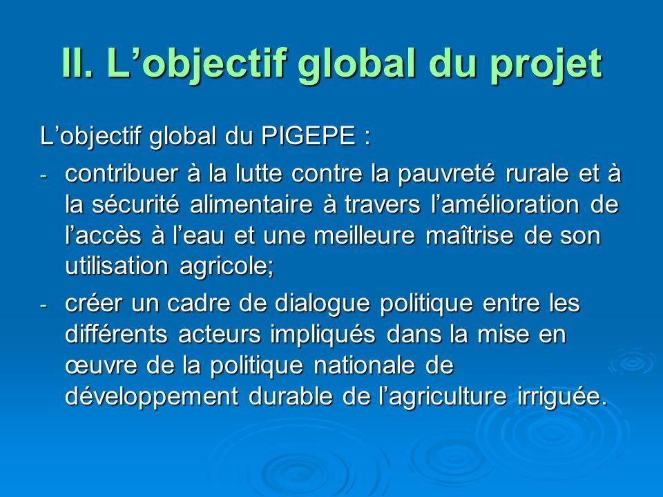 Les objectifs spécifiques du PIGEPE renforcer les capacités des groupes cibles et faciliter leur accès aux appuis du projet ; renforcer les capacités des groupes cibles et faciliter leur accès aux appuis du projet ; appuyer les groupes cibles avec des investissements visant à leur assurer laccès aux ressources en eaux agricoles avec des technologies appropriées à leur technicité et leurs ressources ; appuyer les groupes cibles avec des investissements visant à leur assurer laccès aux ressources en eaux agricoles avec des technologies appropriées à leur technicité et leurs ressources ; intensifier et diversifier durablement la production agricole irriguée et de bas-fonds ; intensifier et diversifier durablement la production agricole irriguée et de bas-fonds ; contribuer à lamélioration des revenus des familles agricoles les plus démunies.
