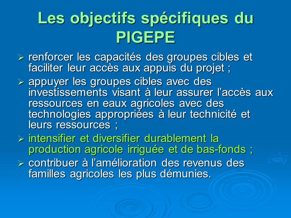 Les objectifs spécifiques du PIGEPE renforcer les capacités des groupes cibles et faciliter leur accès aux appuis du projet ; renforcer les capacités