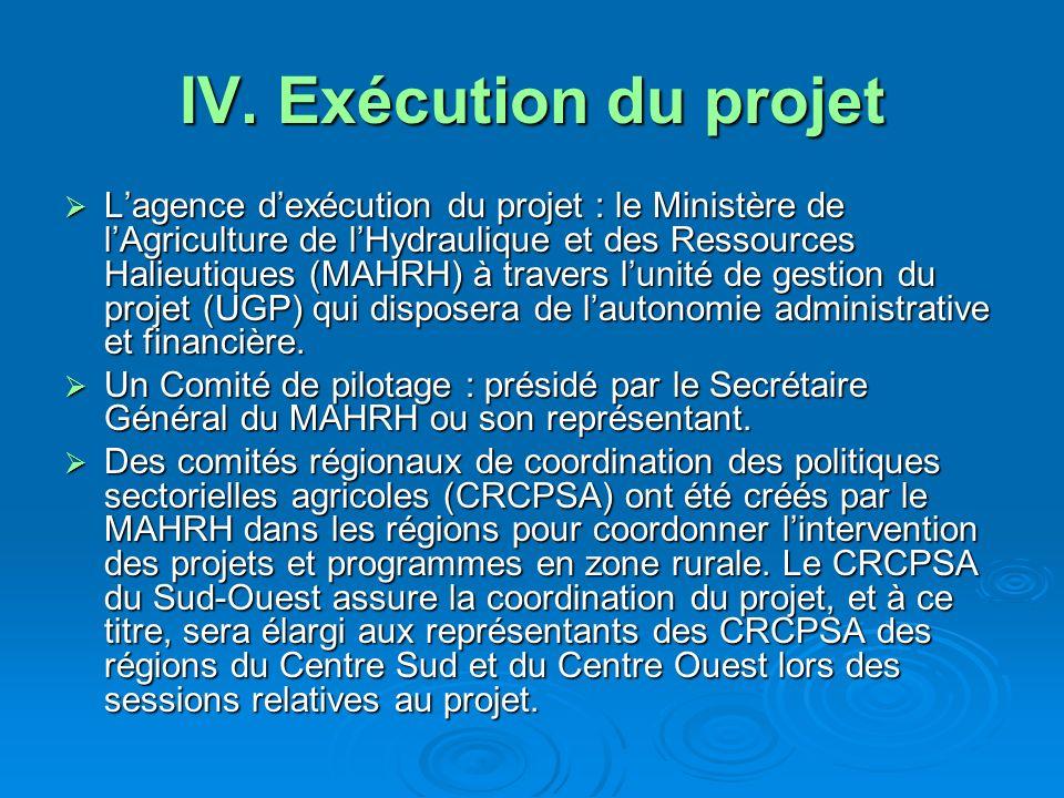 IV. Exécution du projet Lagence dexécution du projet : le Ministère de lAgriculture de lHydraulique et des Ressources Halieutiques (MAHRH) à travers l