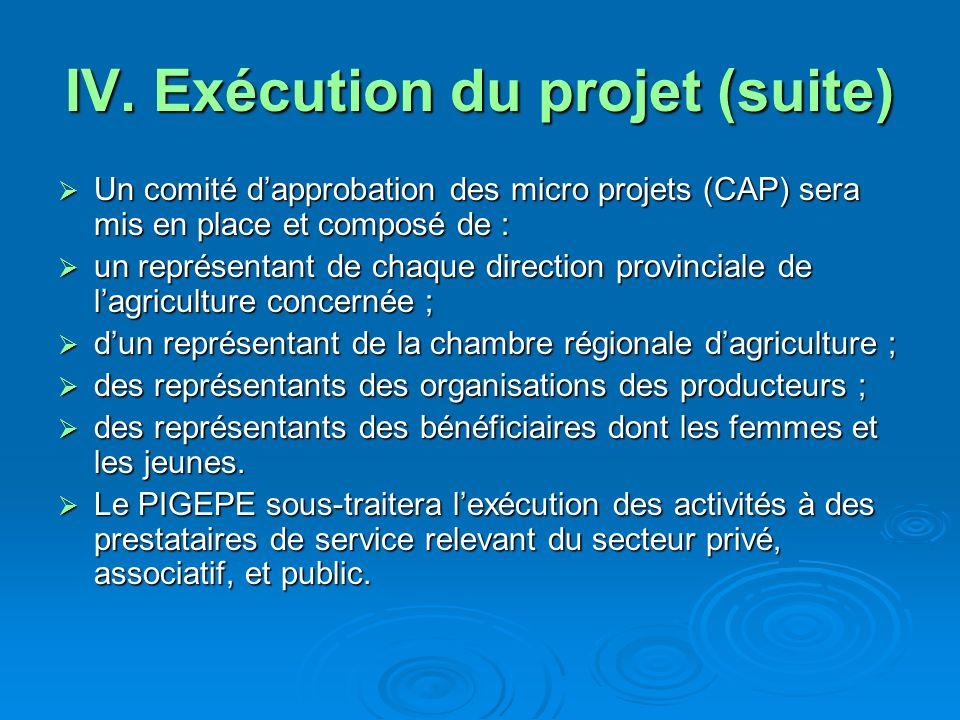 IV. Exécution du projet (suite) Un comité dapprobation des micro projets (CAP) sera mis en place et composé de : Un comité dapprobation des micro proj