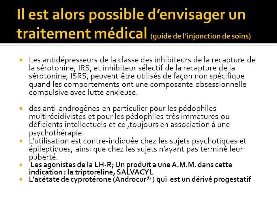 Les antidépresseurs de la classe des inhibiteurs de la recapture de la sérotonine, IRS, et inhibiteur sélectif de la recapture de la sérotonine, ISRS,