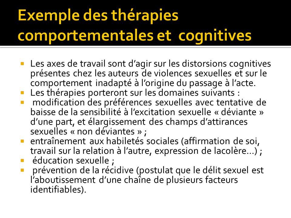 Les axes de travail sont dagir sur les distorsions cognitives présentes chez les auteurs de violences sexuelles et sur le comportement inadapté à lori