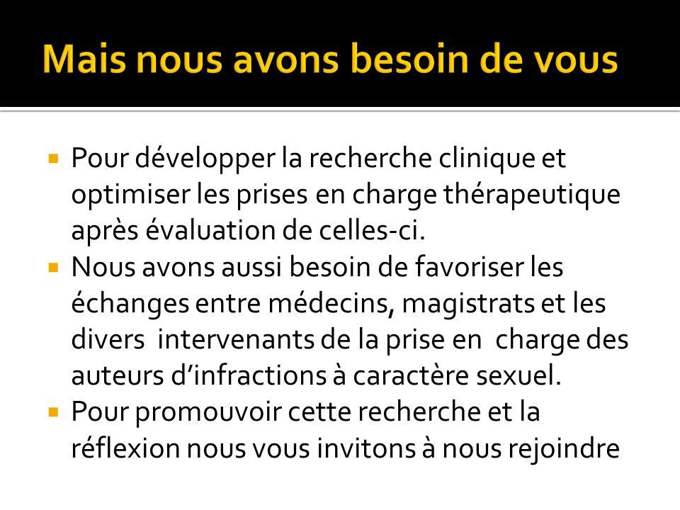 Pour développer la recherche clinique et optimiser les prises en charge thérapeutique après évaluation de celles-ci. Nous avons aussi besoin de favori
