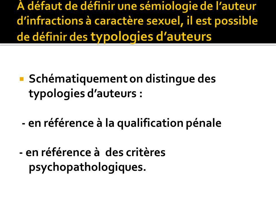Schématiquement on distingue des typologies dauteurs : - en référence à la qualification pénale - en référence à des critères psychopathologiques.