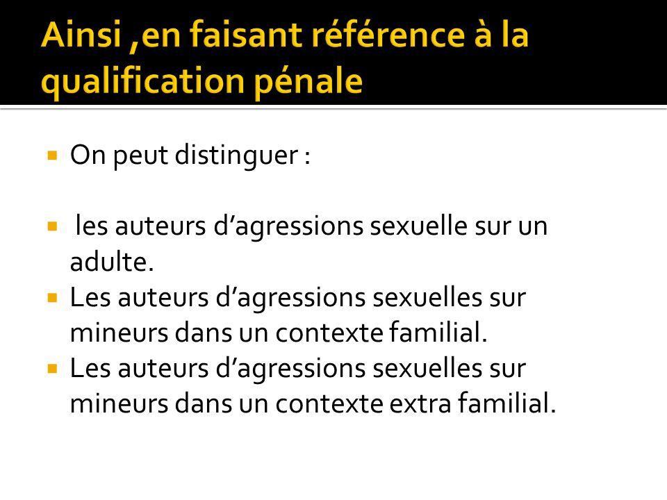 On peut distinguer : les auteurs dagressions sexuelle sur un adulte. Les auteurs dagressions sexuelles sur mineurs dans un contexte familial. Les aute