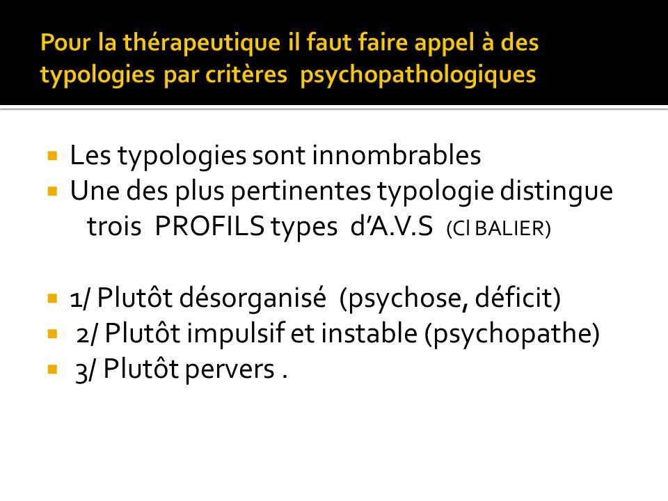 Les typologies sont innombrables Une des plus pertinentes typologie distingue trois PROFILS types dA.V.S (Cl BALIER) 1/ Plutôt désorganisé (psychose,