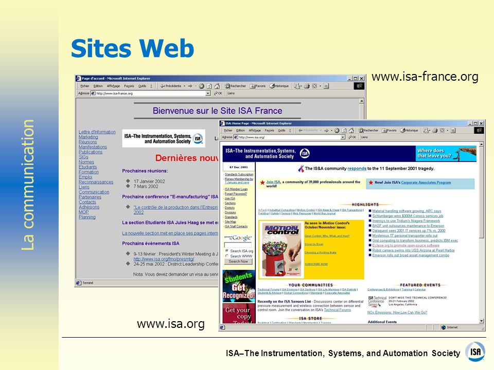 ISA–The Instrumentation, Systems, and Automation Society Sites Web www.isa.org www.isa-france.org La communication