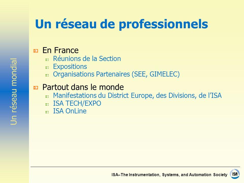 ISA–The Instrumentation, Systems, and Automation Society Un réseau de professionnels En France Réunions de la Section Expositions Organisations Parten