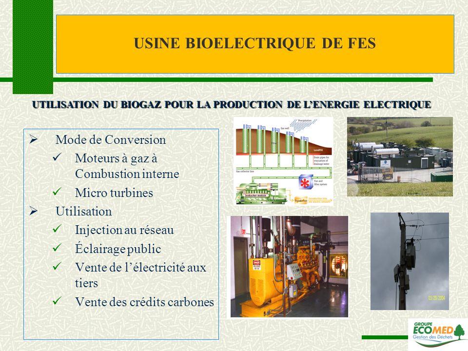 Mode de Conversion Moteurs à gaz à Combustion interne Micro turbines Utilisation Injection au réseau Éclairage public Vente de lélectricité aux tiers