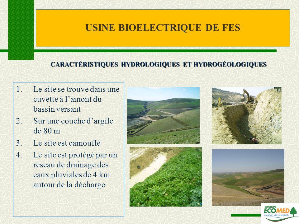 1.Le site se trouve dans une cuvette à lamont du bassin versant 2.Sur une couche dargile de 80 m 3.Le site est camouflé 4.Le site est protégé par un r