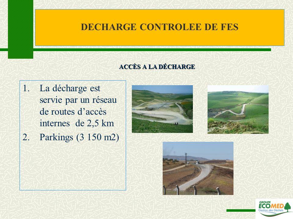 1.La décharge est servie par un réseau de routes daccès internes de 2,5 km 2.Parkings (3 150 m2) ACCÈS A LA DÉCHARGE DECHARGE CONTROLEE DE FES