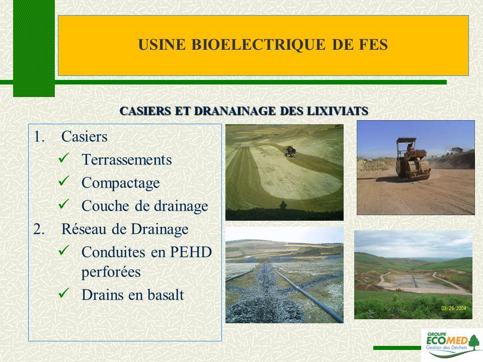1.Casiers Terrassements Compactage Couche de drainage 2.Réseau de Drainage Conduites en PEHD perforées Drains en basalt CASIERS ET DRANAINAGE DES LIXI