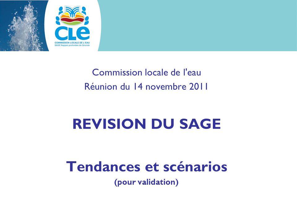 Commission locale de l'eau Réunion du 14 novembre 2011 REVISION DU SAGE Tendances et scénarios (pour validation)